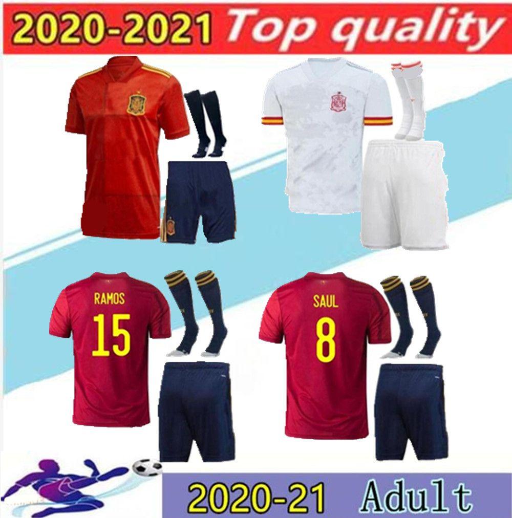 Erkekler Kiti 2020 Euro İspanya Morata Ev Futbol Forması 20 21 Koke Asensio Ramos Silva ISCO Avrupa Kupası Futbol Gömlek Boyutu S-2XL