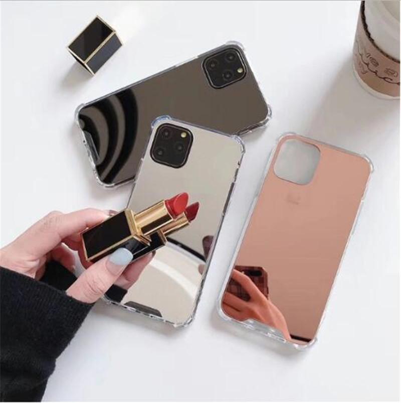 2021 PC TPU antichoc pour iPhone 12 Mini 11 x XR XS Pro Max 6 7 8 Plus Coque Maquillage avec couvercle miroir Coque de la mode