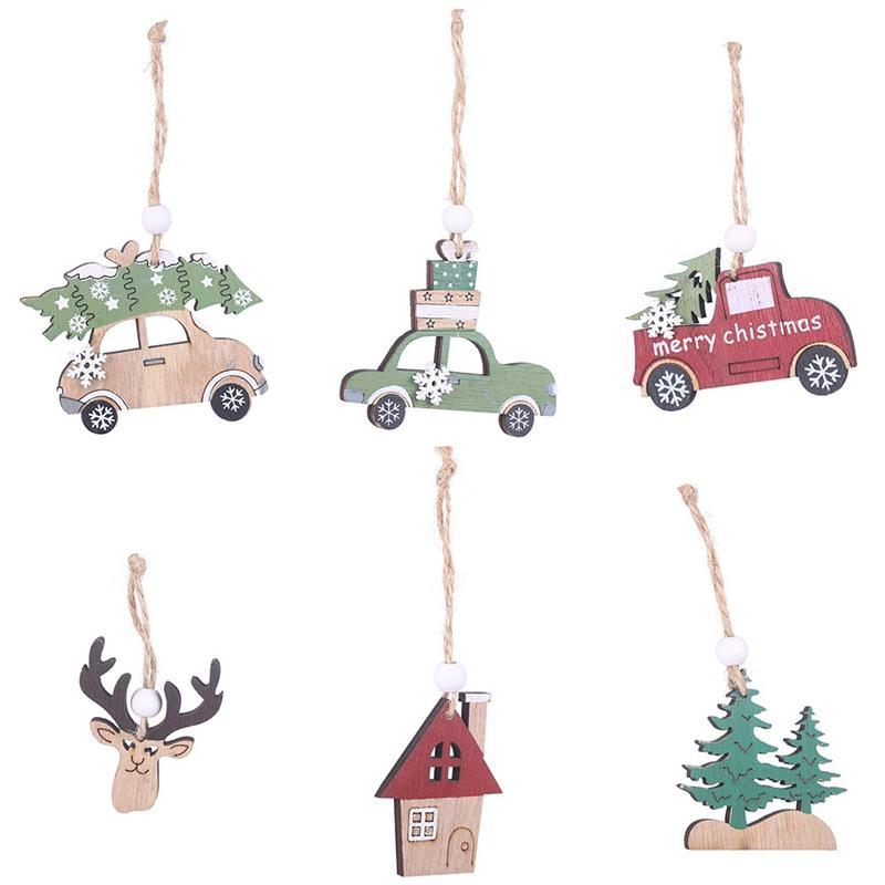 3 pçs / set 6set Natural ofício de madeira de Natal enfeite de árvore de madeira pingente de natal decoração de Natal para casa
