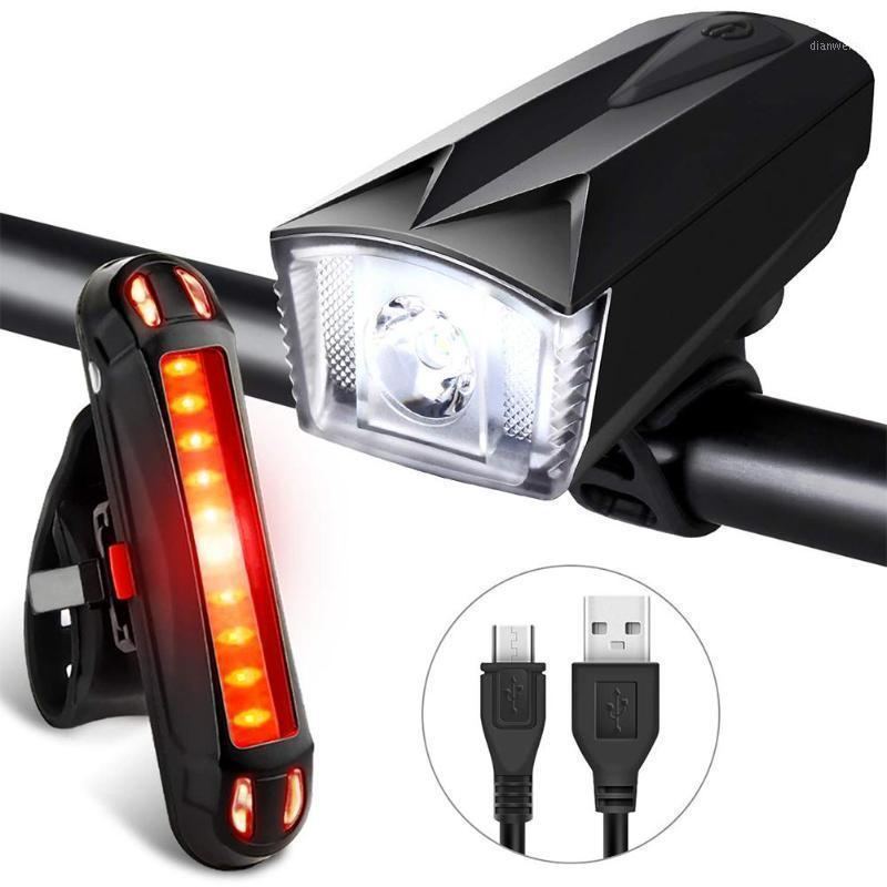 Bike Light Set Potente faro di bicicletta + Light Light USB ricaricabile LED frontale posteriore Light Lights Road Cycling1