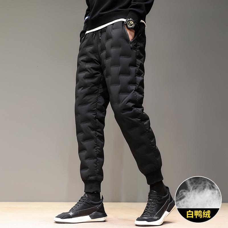 2020 Мужская зимняя повседневная кружевна эластичная ватные брюки молодежь носить мода тонкую ногу теплые брюки