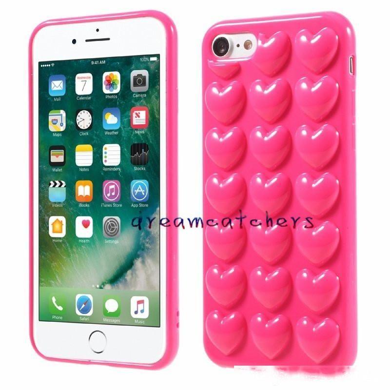 Custodia cardiaca 3D per iPhone 8 x 7 Plus con il cordino Soft Lover Silicone Copertura del telefono della gelatina per 6 6s più guscio della pelle con corda di appendere colorato