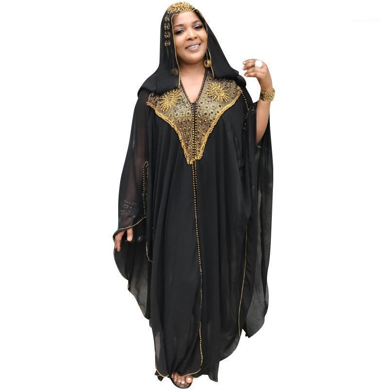 Perles Robes Longues Robes Vente chaude Capuche Été en mousseline de soie Abayah Plus Taille Robe noire Split avec un usage intérieur élastique1