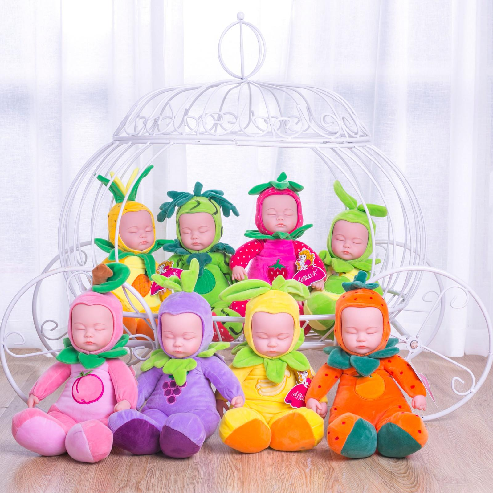 35CM Soft Plush Doll Sleep Baby Doll Toys fruits Full Silicone Face Babies Kids Toys Cute Reborn Doll For Children Kid Toy F1211