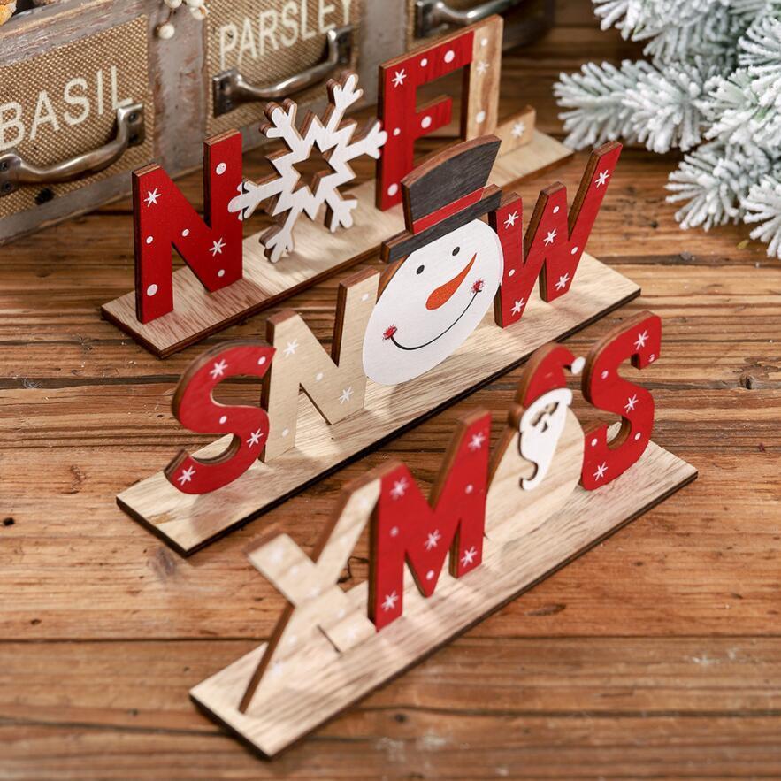 Креативные рождественские украшения Деревянные буквы украшения Santa Claus Печатные настольные украшения Фанера домашнего декорки орнаменты OWF3296