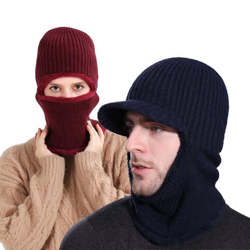 2020 designer chapéu de inverno homem de malha preto capuz quente homens tampões grossos phush viking ski pele chapéu novo moda máscara de esqui mulher f1208