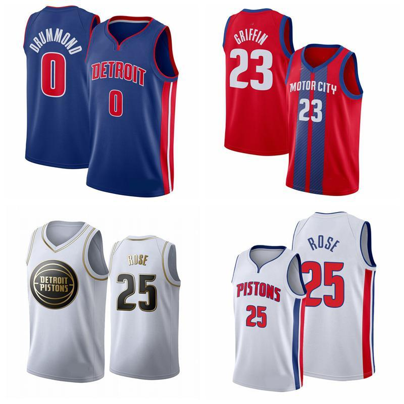 2020 hommes S DetroitPistontJersey 23 Griffin Derrick 25 Rose Grant 0 Jersey de basketball Drummond 829
