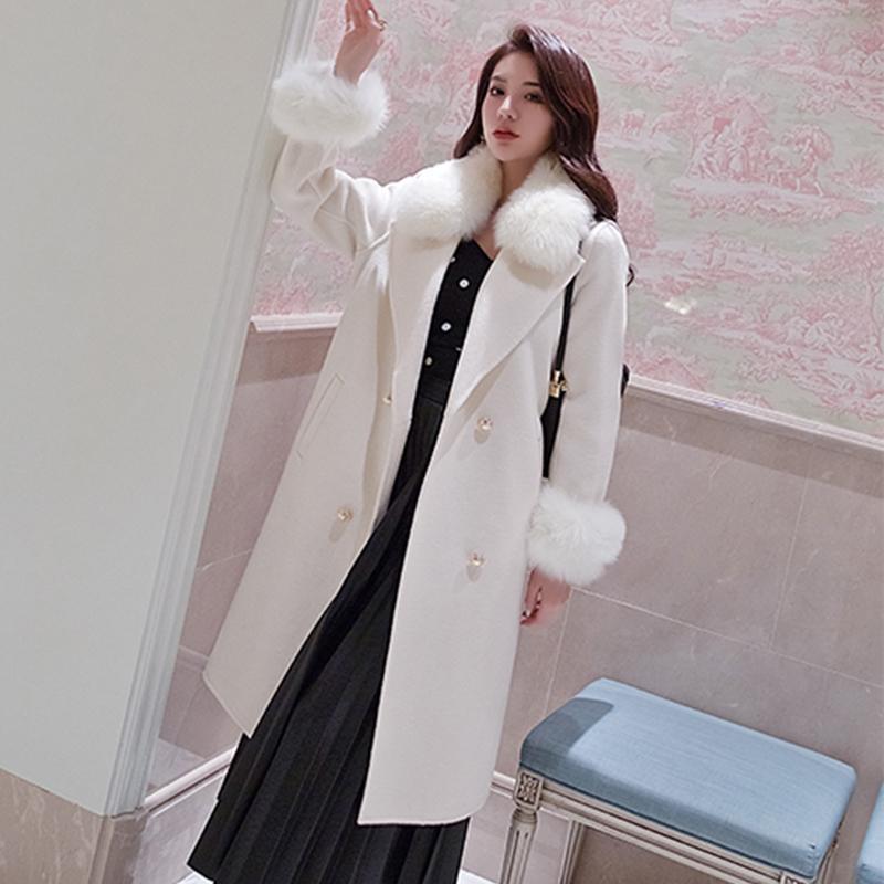 Uzun kış yün kadınsı sonbahar gerçek tilki yaka 2020 moda kadın sıcak ceket sa8b