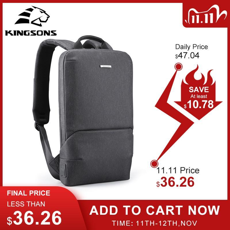 Kingsons Slim Backpacks per laptop uomo 15.6 '' Office Work Donne Backpack Business Bag Unisex Grigio Ultralight Zaino Thin Back Pack