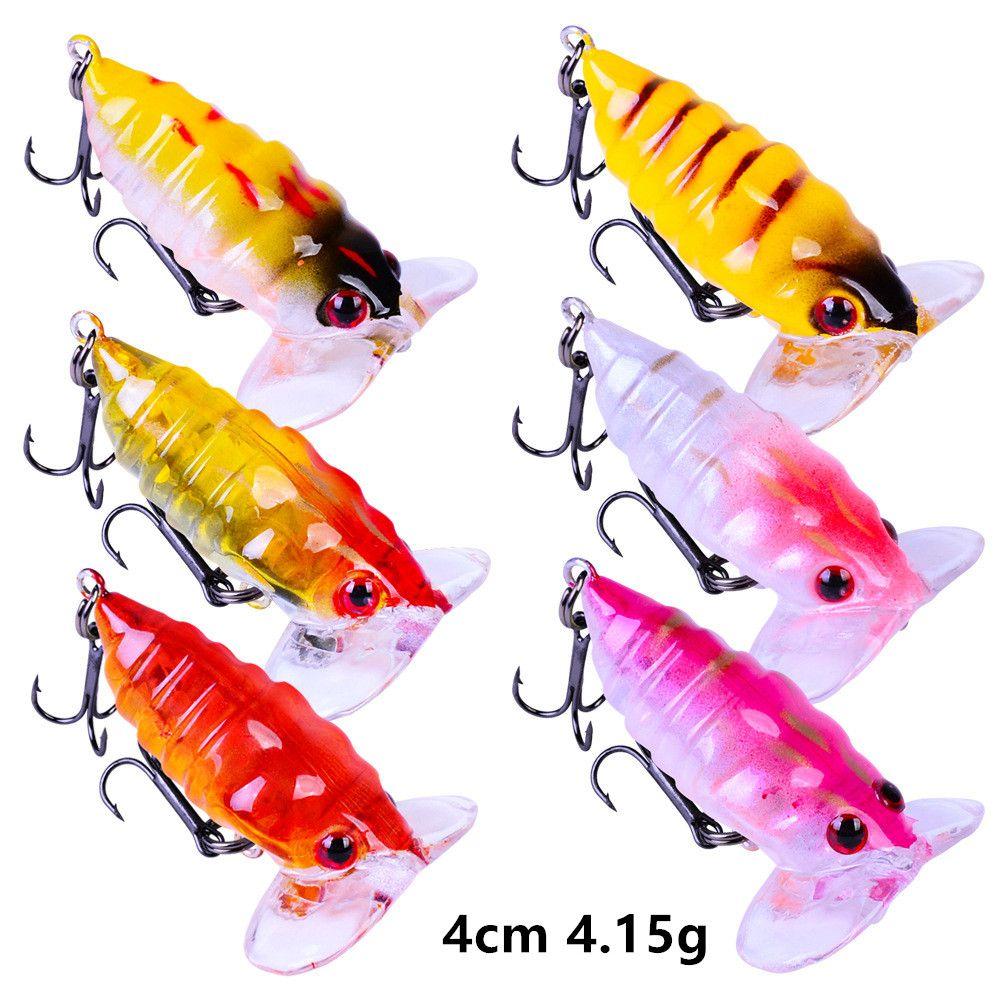6 цвет смешанный 4см 4.15G Cicada рыболовные крючки рыболовные рыболовные крючки 10 # крюк жесткие приманки приманки B8_205
