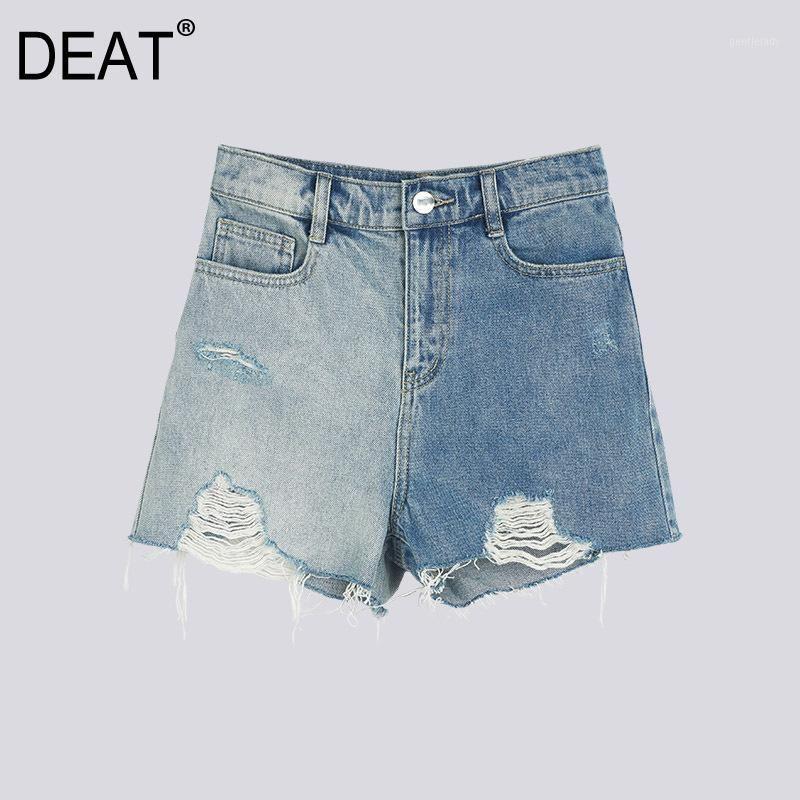 [Deat] 2020 primavera entrega rápida mulheres mulheres short denim panlled rasgado buracos de barra lavado cintura selvagem moda maré lazer roupas ap2511