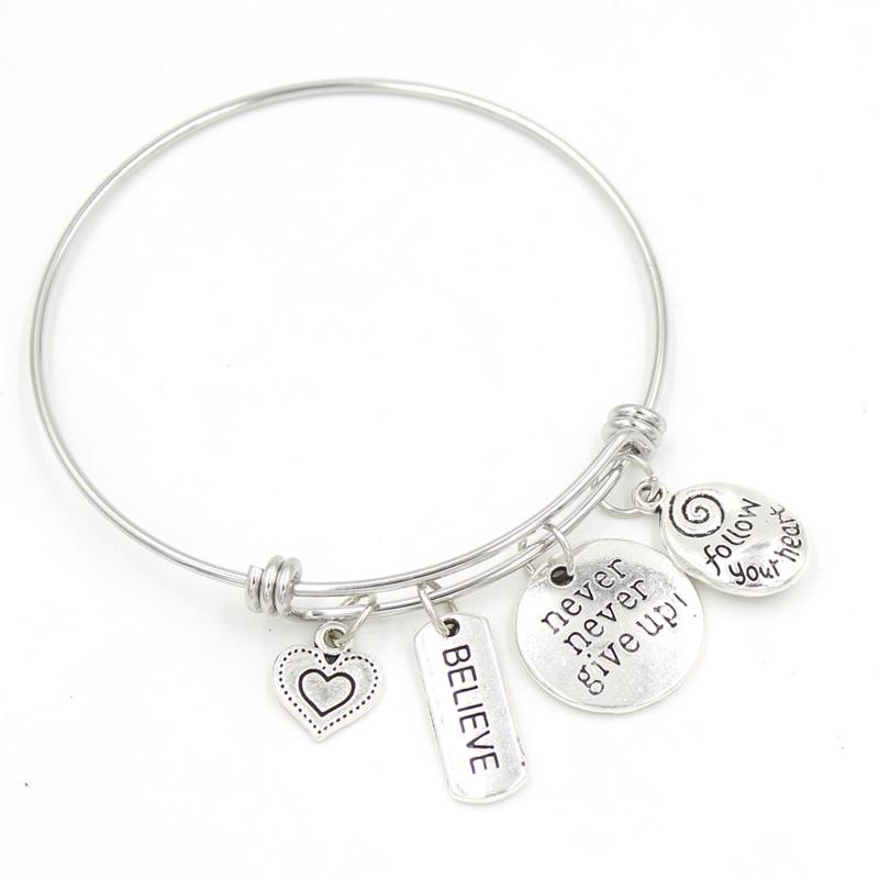 Оптовые вдохновения браслет из нержавеющей стали Bangle Inscire Veric Braceletbangle для женщин Девушки День рождения подарки Pulsera