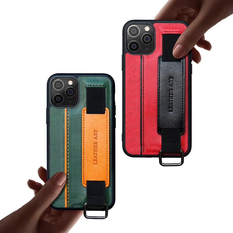 Para iPhone 12 Pro Max Phone Cases Moda Titular de pulso de couro caso capa protetora para iphone 11 XS Max 8 7 Plus