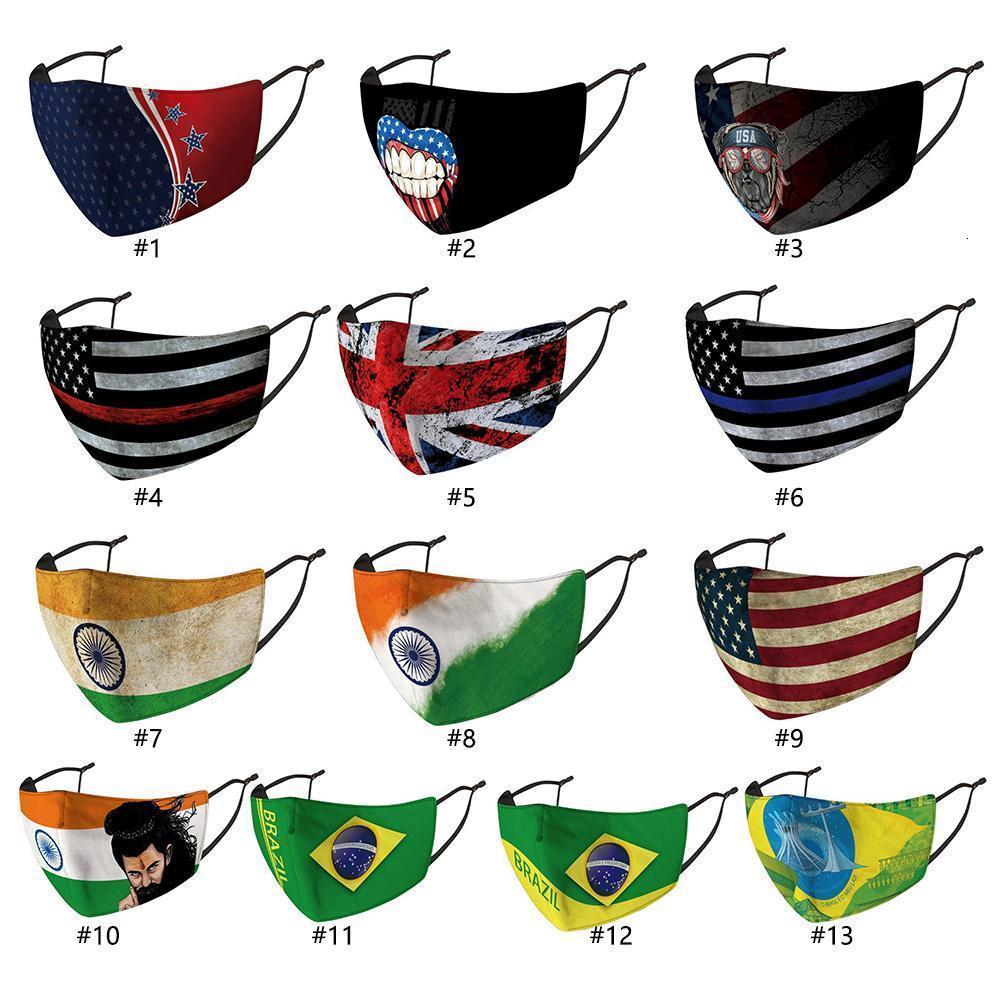 Baskı Amerikan Erkek Kadınlar Brezilya Yıkanabilir Kullanımlık Toz Geçirmez Ulusal Küresel Yetişkin Koruyucu Yüz Mas için Flag Facecover