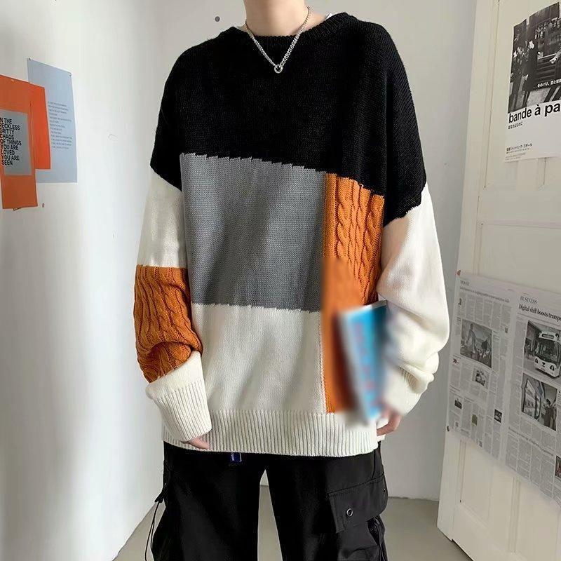 2020 neue stil Gangchai stil männer mode marke marke pullover männer und frauen passende farbkontrast pullover