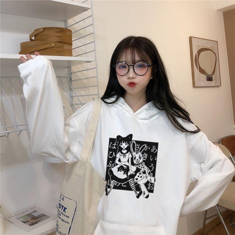 Harajuku Inverno Hoodie Mulheres soltas Bocas Longa Boca Estilo Coreano Sweater Herfst Streetwear Anime Anime Impresso Dropship Trui