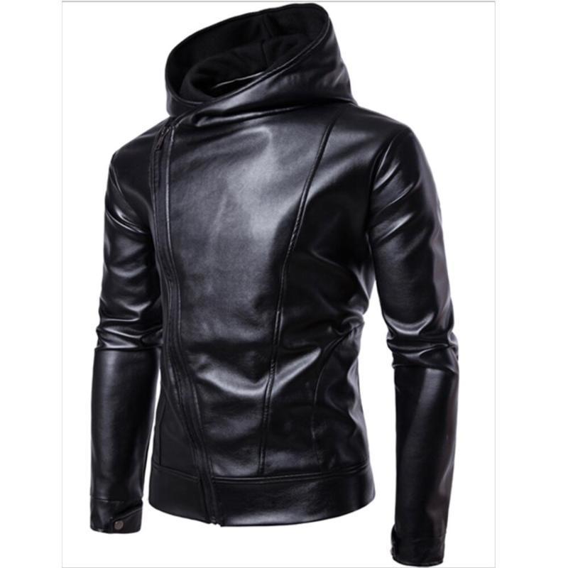 Siyah Hoodied Deri Ceket Erkekler İlkbahar Sonbahar Rahat Giysileri Moda Eğik Fermuar Hoodies Deri Ceketler ve Mekan Adam