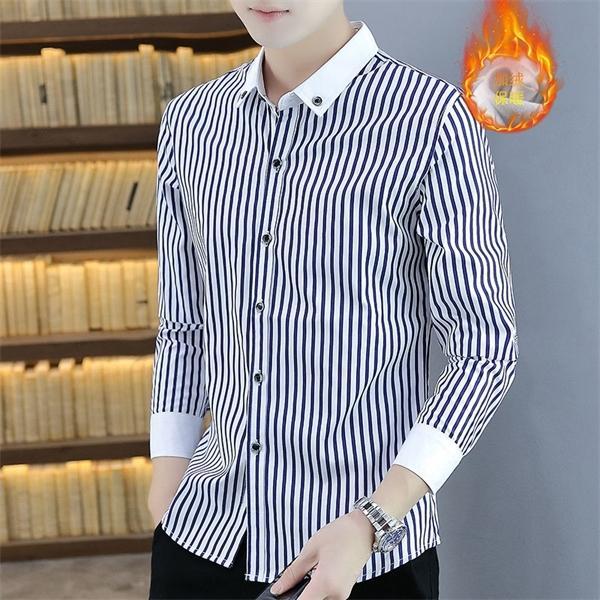 Chemise à rayures et en automne Veste chaude SLIM-FIT T-shirt Velvet épais Chemise à manches longues Coton Coton Chemise de terre pour hommes C1211