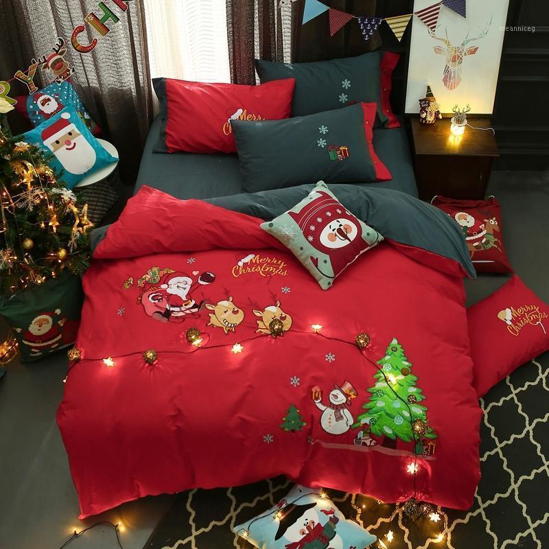3 / J / 6 Pz Twin Queen King Size Bambini Adulti Red Christmas Carino Biancheria da letto Set Duty Cover Duty Lett Sheet Set Federa Capodanno Gifts1