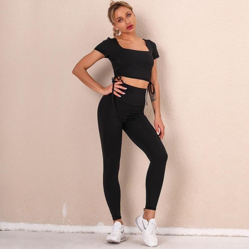 요가 복장 세트 여성 Sportwear 운동 활성 Tracksuit Stretchy 댄스 체육관 피트니스 탑 Drawstring 운동 바지 스포츠 슈트