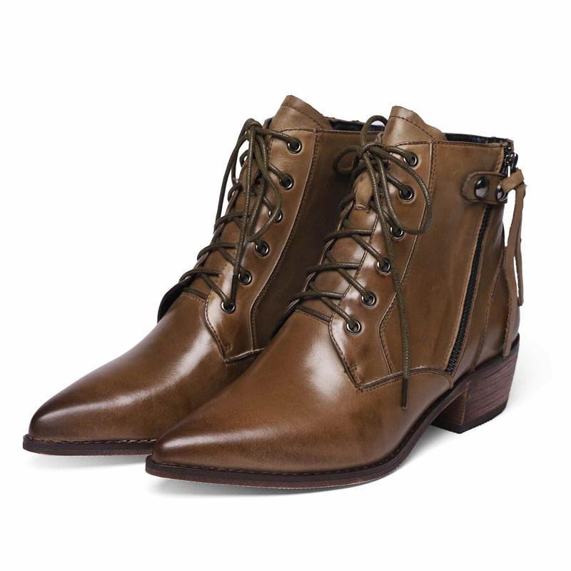 Botas de tobillo Botas de motocicleta para mujer Cuero de vaca Nuevo invierno Zapatos de tacón alto de invierno Mujeres Tobillo de mujer Zapatos Mujer