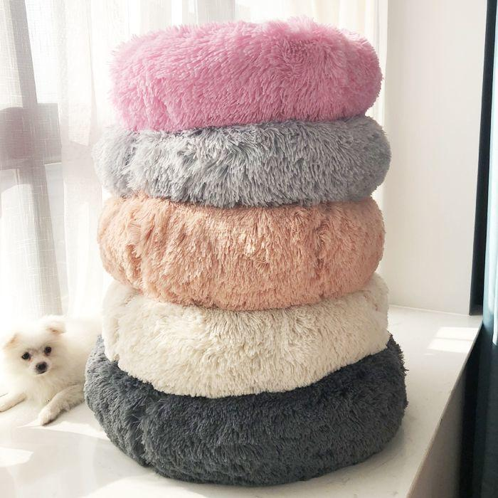 Larga peluche Pet Dog Bed Cómodo Donut Cuddler Redondo Perro Perro Redondo Suave Lavable y Cat Cojín Cama Cama Invierno Cálido Sofá