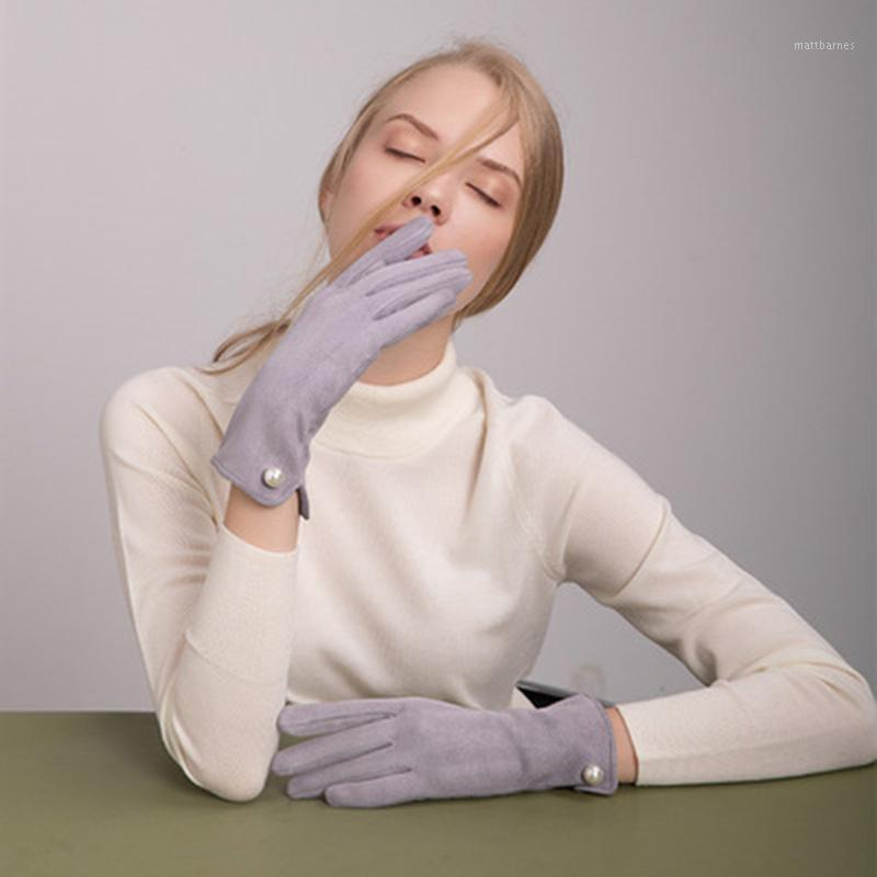 Guantes de perlas Señoras de otoño e invierno Pantalla táctil más Velvet Suede cálido Lindo estudiante guantes de conducción espesando anti-E441