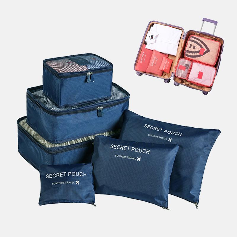 Verpackung Reise Organizer Lagerung Plastik Tragbare Taschen Tasche Gepäckkleidung 6 teile / satz Koffer Cube Tidy Case Taschen CLHPW