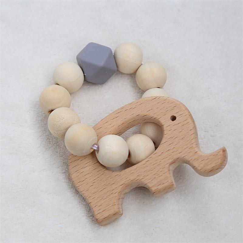 Kinder Woodiness Armband Buche Beißring Vogel Elefant Muster Holz Perlen Silikonperlen Kinder Zahnen Toys 5 5zj j2