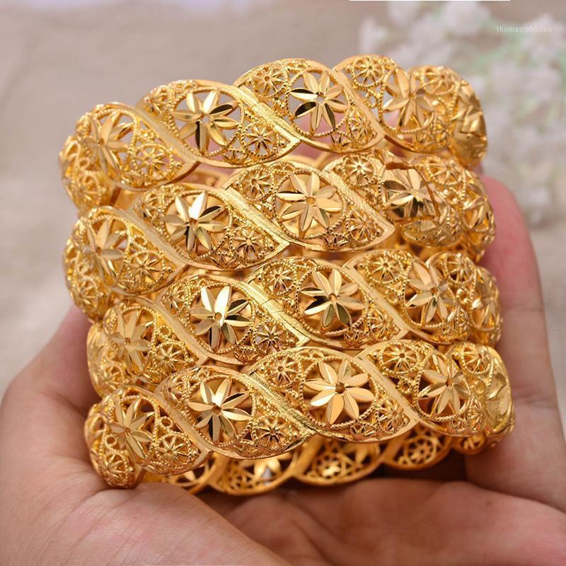 Annayoyo 4 teile / los Äthiopier Afrika Gold Farbe Armreifen Für Frauen Blume Braut Armband Afrikanische Hochzeit Schmuck Naher Osten Artikel1
