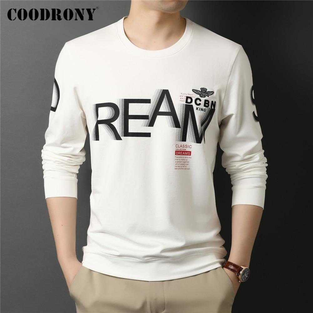 Coodrony Spring Otoño Nueva Llegada Alta Calidad Streetwear Fashion Pattern Soft Algodón O-Cuello Manga larga camiseta Hombre Tops C5065 x1227