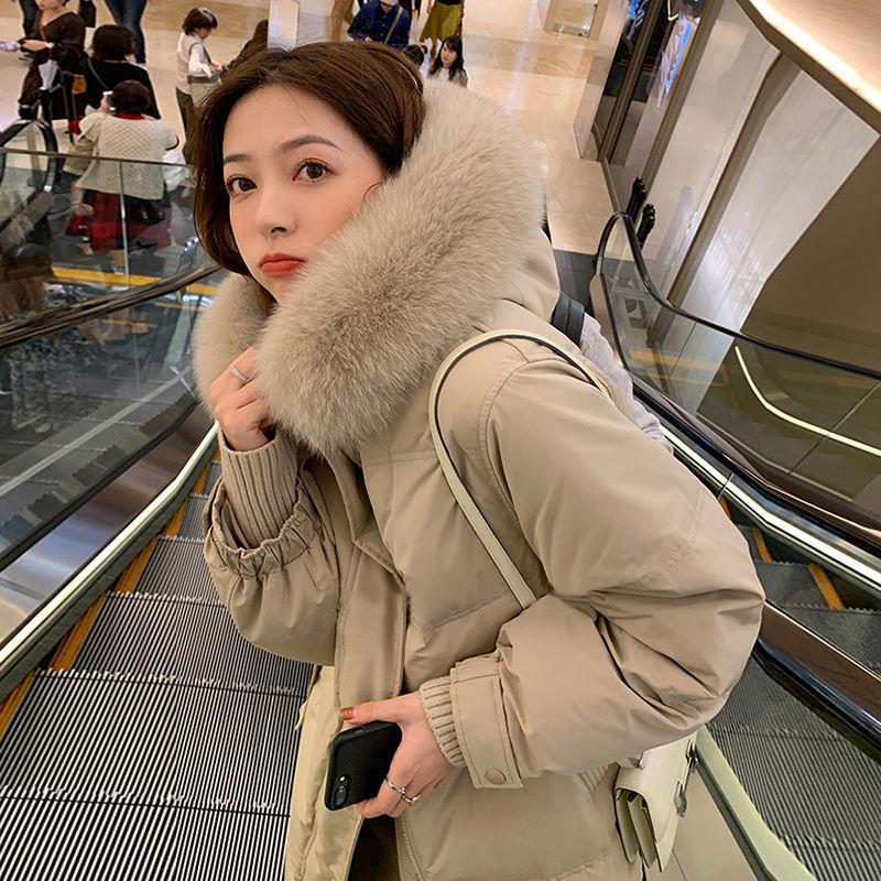 90 Blanc Duck Down Super Grand Collier de plumes de Fox Down Down Women's Moyen Longueur du genou 2021 Nouveau style épaississement et ajustement mince