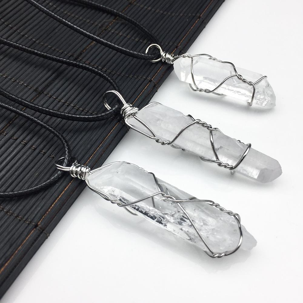 6PCS Wire Winding Jewelry Pendants Natural Irregular Crystal Hexagonal Stone Necklace Reiki Healing Pendulum Women Sweater Chain Q1216