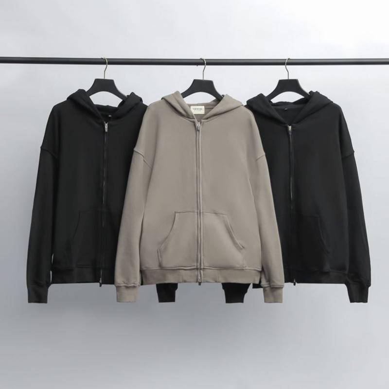 New Men's Winter Warm Hoodie Hooded Sweatshirt Coat Jacket Terry Cloth Zipper Casual Outwear Coat with Pockets Black Gray Sportswear