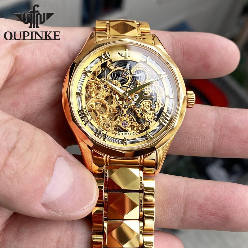 Oupinke повседневная механические часы мужские золотые стальные скелетные набор роскошные классические платья наручные часы для человека водонепроницаемый Reloj Hombre Q1129