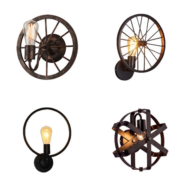 Loft Retro Nostalgic Vento Industrial Lâmpada de Parede Personalidade Bar Corredor Cabelo Cabelo Redondo Ferro Criativo Designer Lâmpada de Parede
