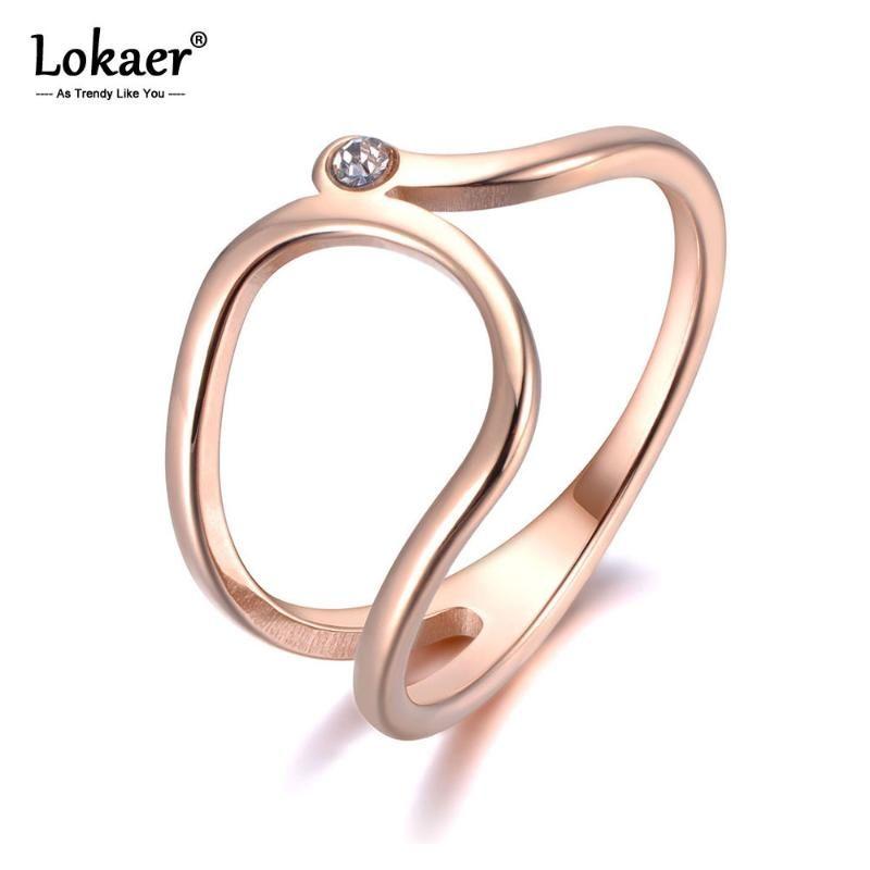 Lokkaer Simple Design Cz Crystal Anneaux Anneaux Bijoux pour Femmes Filles Rose Gold Couleur Acier Inoxydable Accessoires DIY R19021