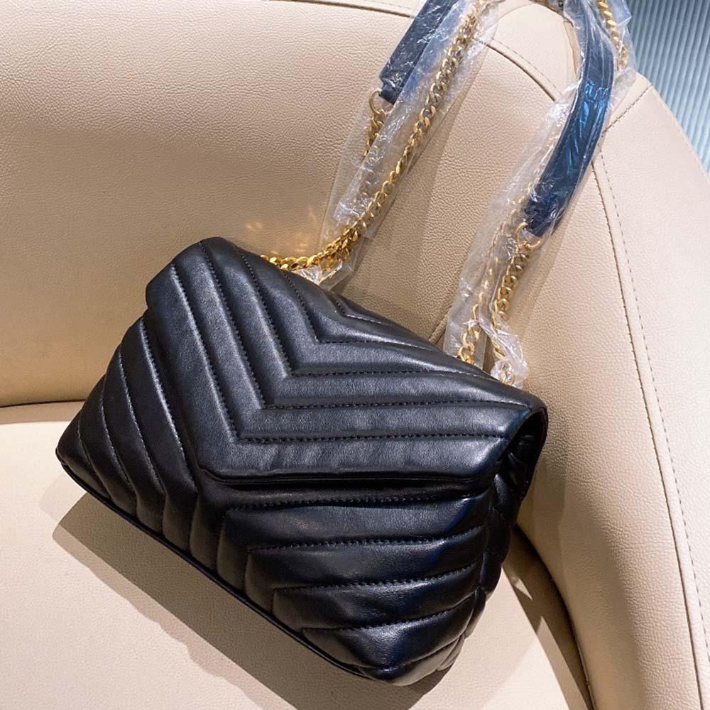 Chaud de luxe original en cuir haute chaîne en métal Sac à main femme Mini sac à bandoulière en forme de sac de messager ondulé en forme de sac de sac avec boîte