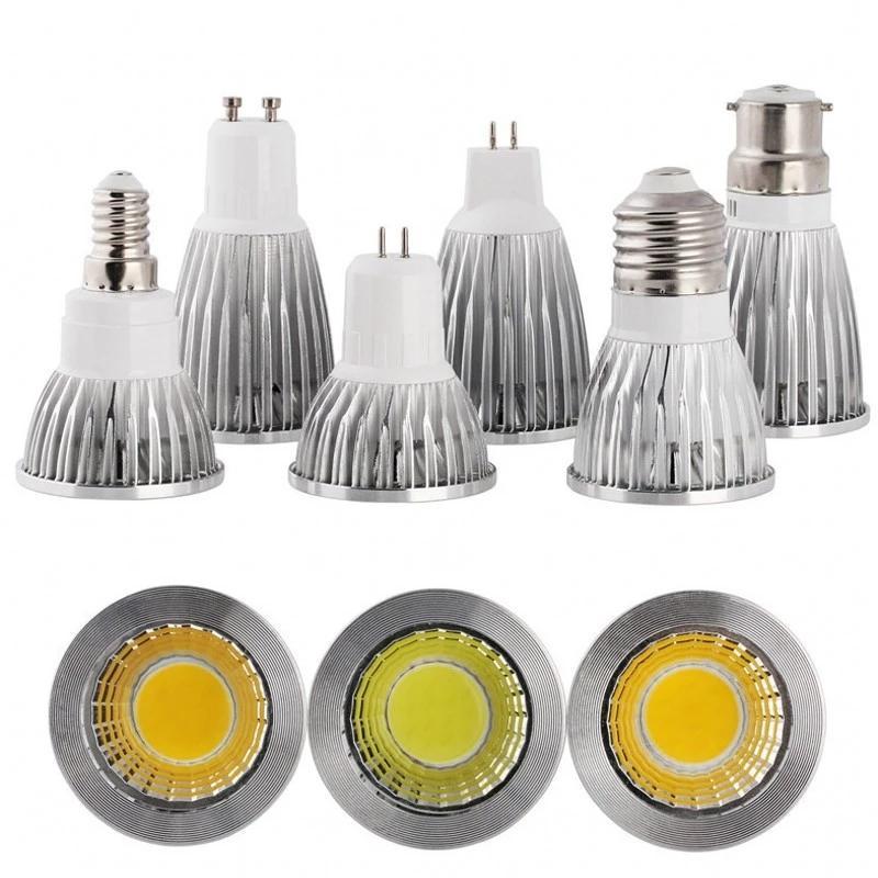 10pcs COB LED Spotlight GU10 9W 12W 15W E27 Dimmable E14 Bombillas 85-265V Lampe de lumière MR16 AC DC 12V LED Ampoule Lamparas
