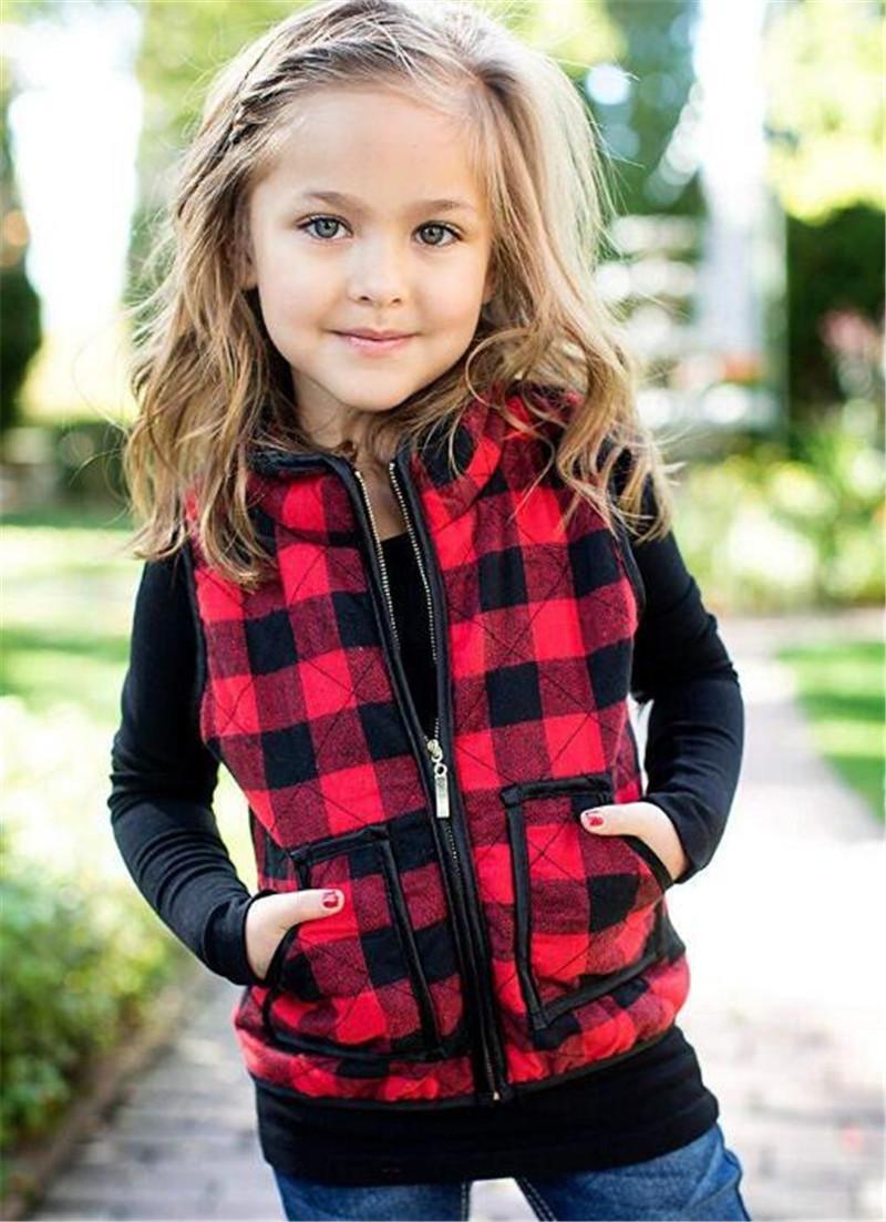 3-7t Jungen Mädchen Kinder Gepolsterte Weste Winterjacken Plaid Baumwolle Wattierte Reißverschluss Mantel Westen Kinder Warme Outwear Casual Tops Kleidung LY11262