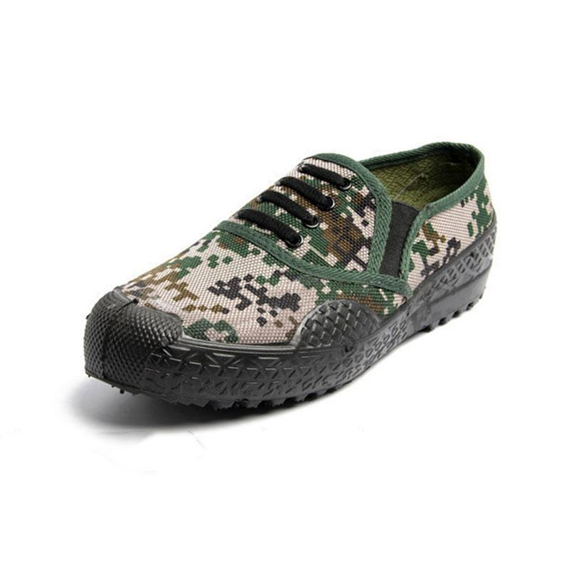 New camouflage low canvas shoes mens womens shoes hiking outdoor black green color flat Wear resistant sport sneakers size 36-46 nine