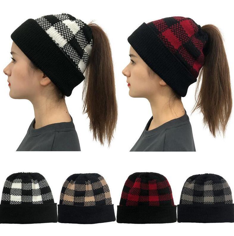 Bayan Kış At Kuyruğu Şapka Beanies Sloudy Örme Manşet Kafatası Kap Kalınlaşmak Sıcak Örgü Yün Beanie Damalı Caps Buffalo Ekose Şapka Yeni D111903