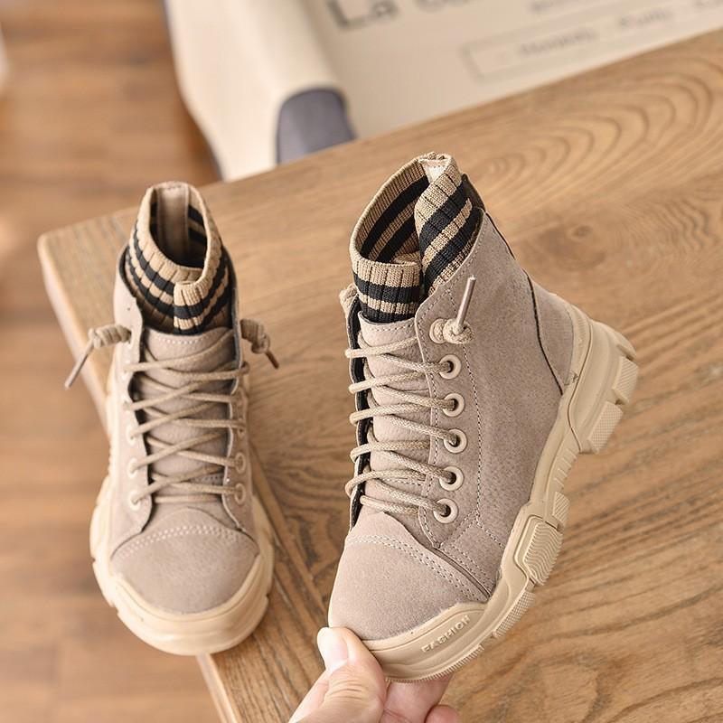 2020 Nouveaux Automne Hiver chaud Cuir Garçons Bottes enfants Martin Boot Filles Chaussures Mode Tricot Enfants SneakersX1024