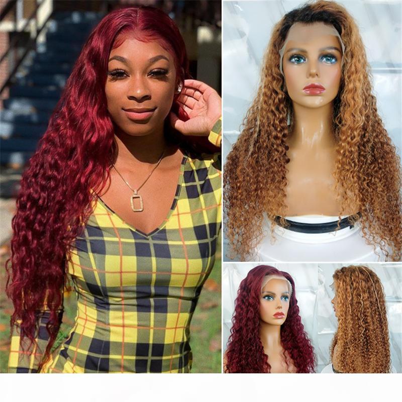 Koyu 99J Derin Dalga Peruk 13x4 Frontal Peruk Brezilyalı İnsan Saç Vurgulamak 1B 7 Renkli Kıvırcık Dantel Ön Peruk Batı Öpücük Saç Remy