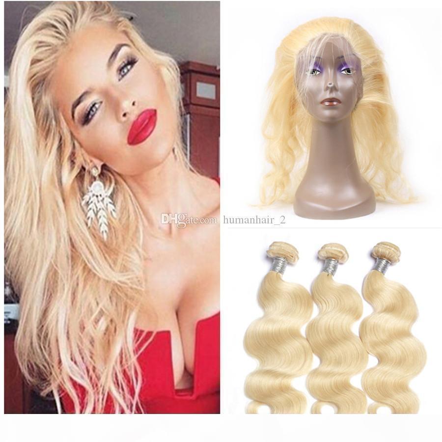 Peruvian Virgin Holid Cheveux Blonde # 613 360 Dentelle Frontale avec paquets Blonde Cheveux Tissu avec fermeture frontale 360 en dentelle avec paquets