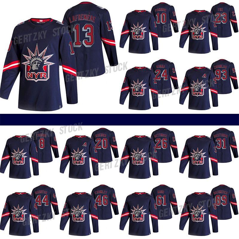 New York Rangers Jersey 2020-21 Reverse Retro 13 Alexis Lafreniere 24 Kaapo Kakko 10 Artemi Panarin 23 Adam Fox Hockey Jersey