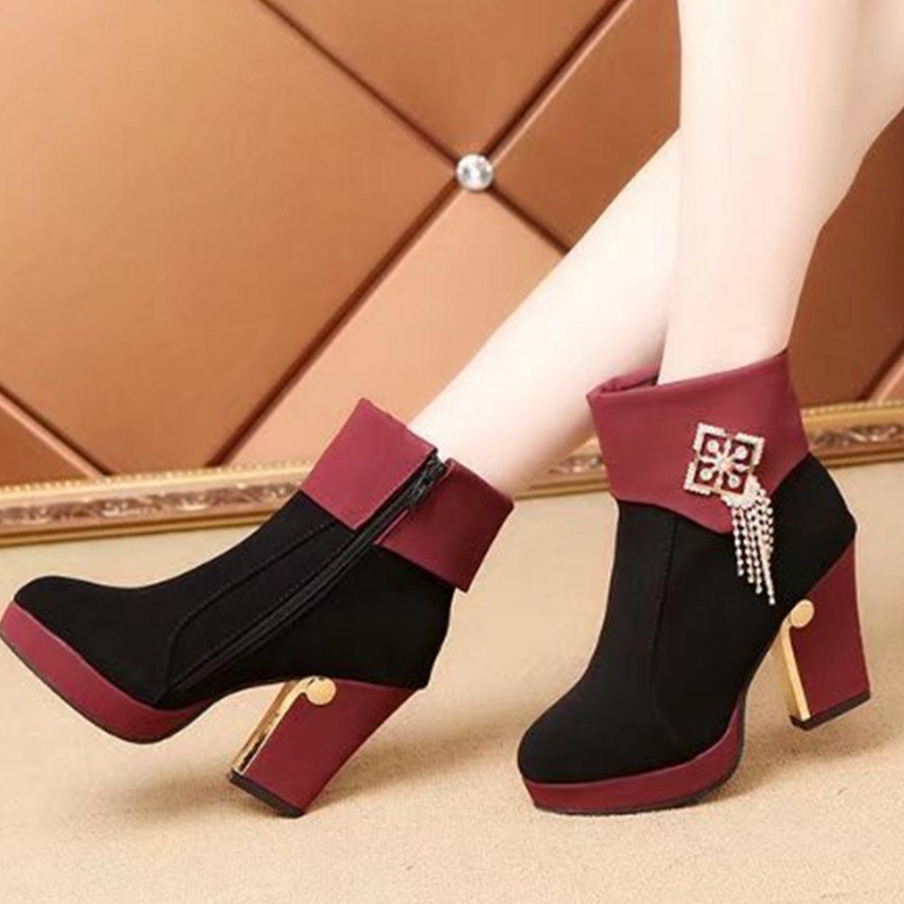 Calda vendita-2020 tacchi alti donne inverno scarpe scarpe cristalli catene moda elegante ufficio uffici ladies piattaforma caviglia