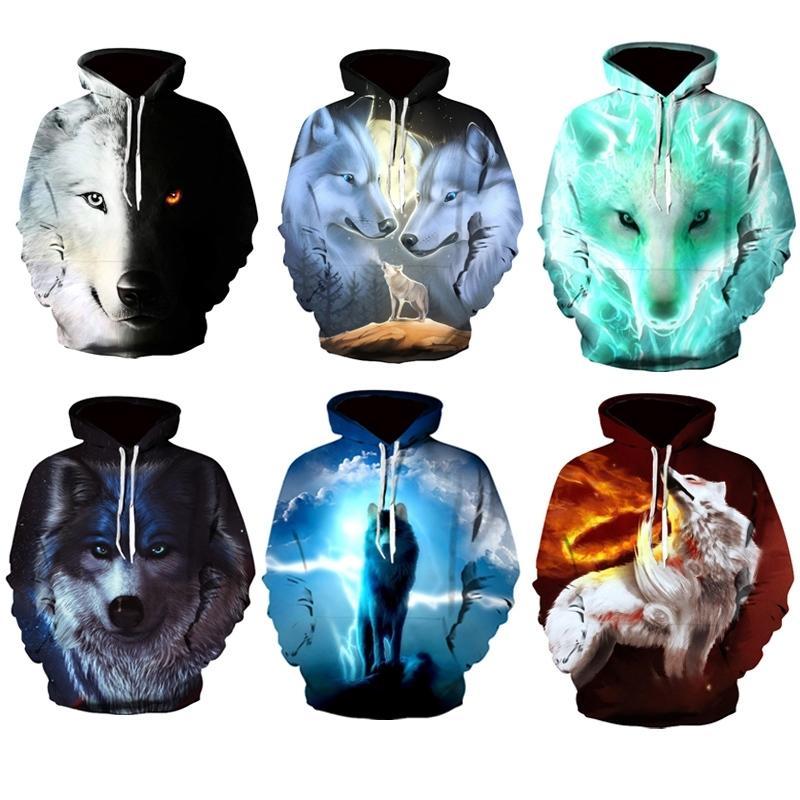 New Fashion Hoodies Men Long Sleeve Fashion Ice and Fire Eyes Wolf Printed Men Sweatshirt Streetwear Clothes Harajuku Hoodie LJ201222