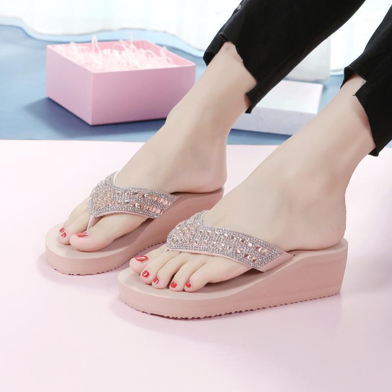 Chinelos Mulheres Sandálias de Verão Slipper Interior Ao Ar Livre Flip-Flops Beach Shoes Aberto Toes Plataforma de Cunha Sandalias Zapatos de Mujer # 51