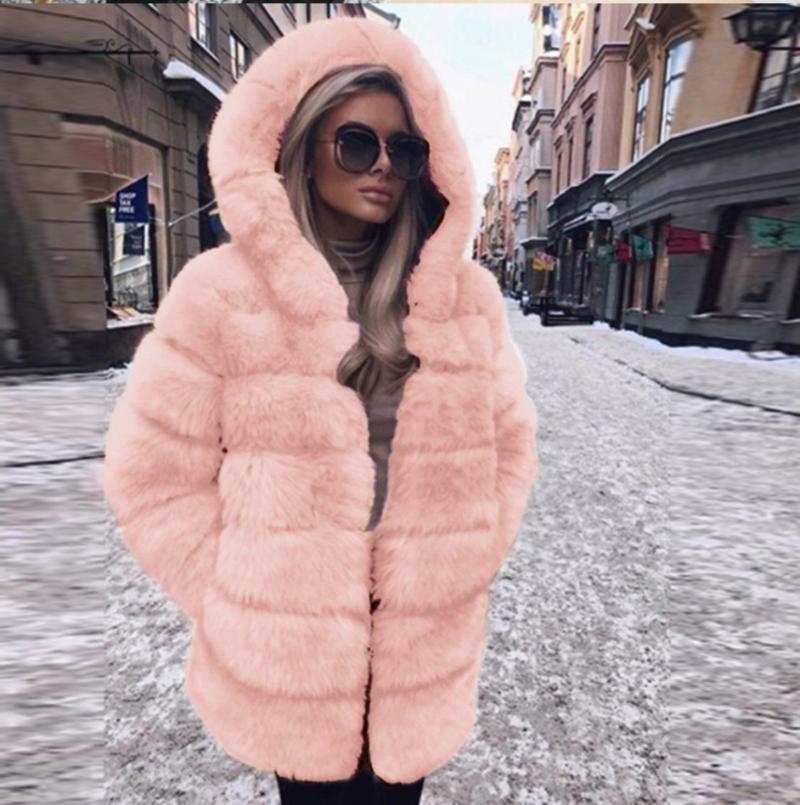 Wholesale 2020 imitación piel piel manga larga capa abrigo abrigo de mujer